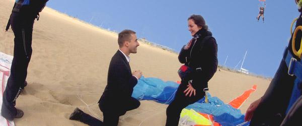 Saut en parachute pour demande en mariage bordeaux